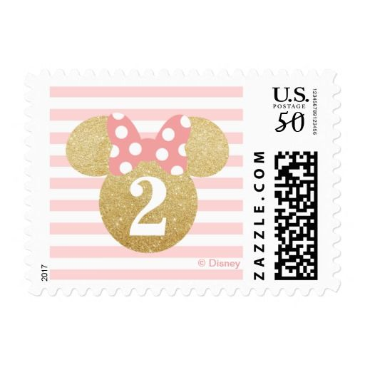 Minnie Mouse   Gold & Pink Striped Birthday Postage