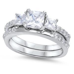 1.1CT Princess Cut Russian Lab Diamond Bridal Set Wedding Band Ring