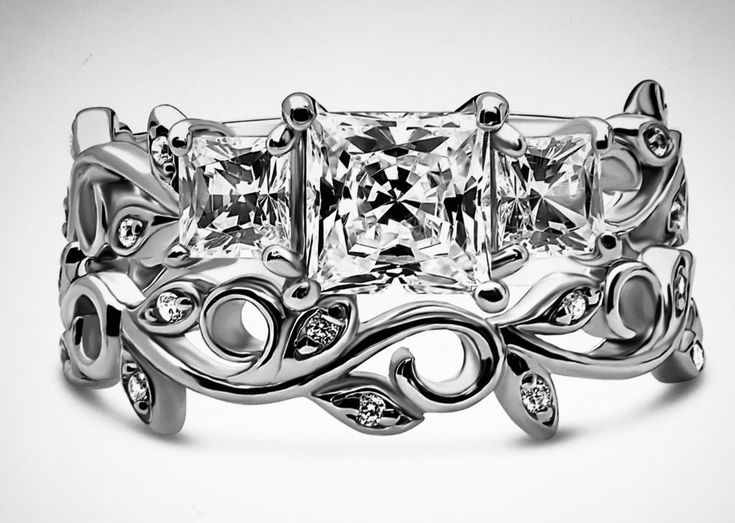 1.3CT Princess Cut Journey Russian Lab Diamond Bridal Set Wedding Band Ring