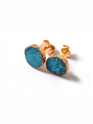 14K Rose Gold 10mm Round Blue Pink Green Natural Druzy Stud Earrings
