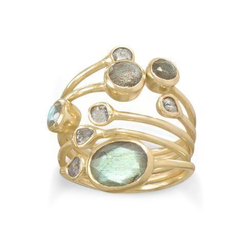 14K yellow gold stacked bezel set labradorite and polki diamond ring