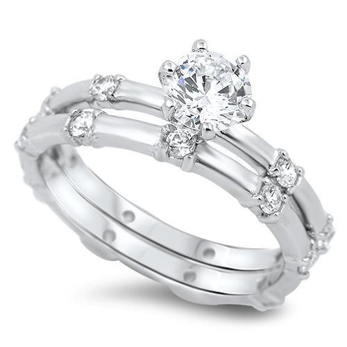 1CT Round Cut Solitaire Russian Lab Diamond Wedding Band Bridal Set