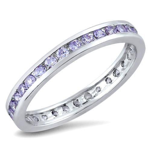 1TCW Lavender Russian Lab Diamond Wedding Band Eternity Ring