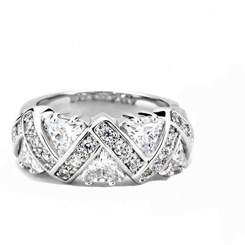7.3TCW Trillion & Round Cut Russian Lab Diamond Anniversary Ring