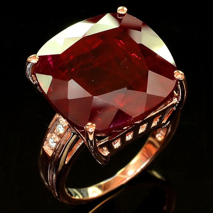 A 14K Rose Gold Natural Vintage Style 26.55CT Cushion Cut Blood Red Ruby Ring