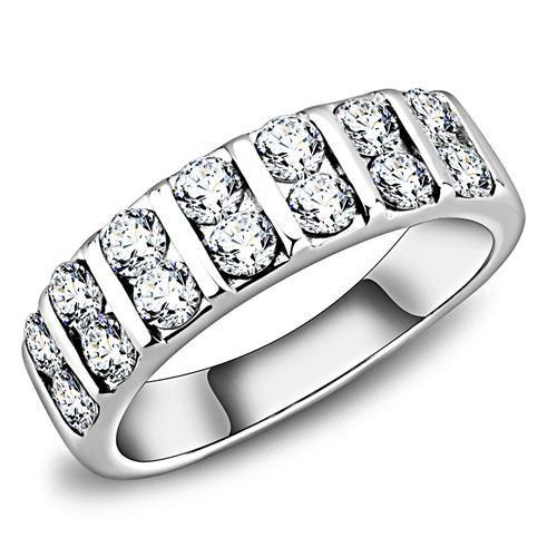 A Perfect 3.5TCW Russian Lab Diamond Half Eternity Wedding Band Ring