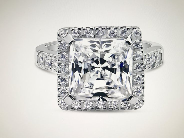 A Perfect 5.7CT Princess Cut Russian Lab Diamond Halo Engagement Ring