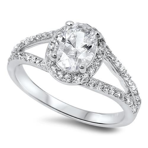 A Stunning 2CT Oval Cut Halo Split Shank Russian Lab Diamond Engagement Ring