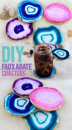 DIY Agate Coasters, it's a printed picture stuck to spray painted cardboard....
