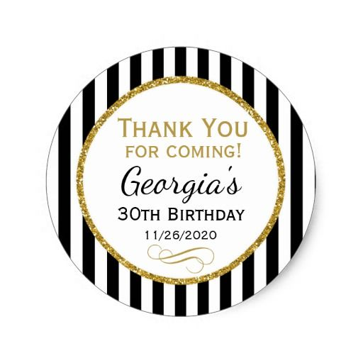 Elegant Birthday Black Gold Thank You Favor Tags