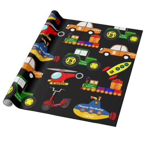 Transportation w/Personalized Name & Age Birthday Wrapping Paper