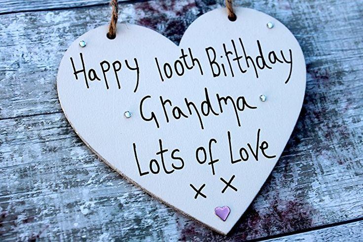 MadeAt94 100th Birthday Gifts Wooden Heart Grandma Handmade Wooden 12cm