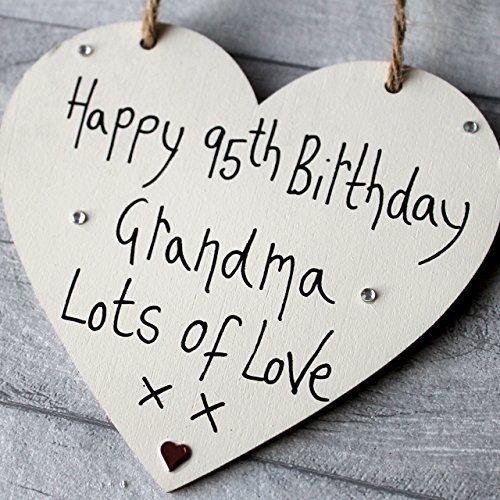MadeAt94 95th Birthday Gifts Wooden Heart Grandma Handmade Wooden 12cm