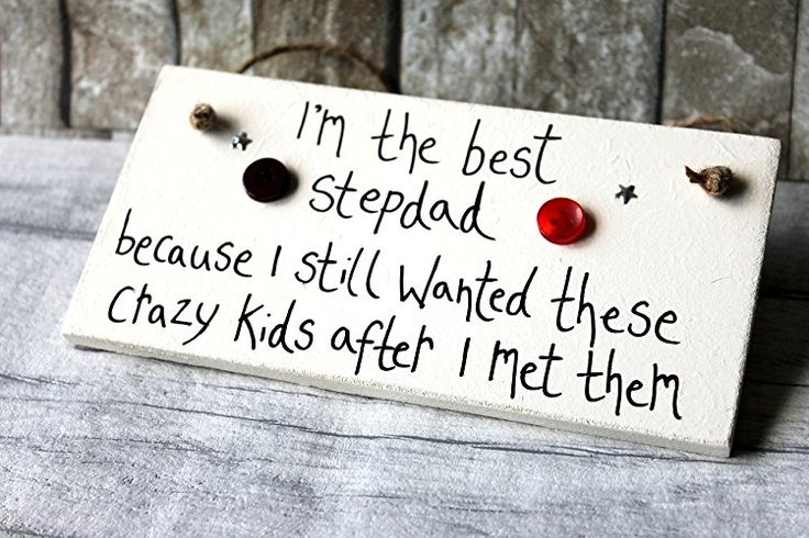 MadeAt94 Step Dad Gifts Personalized Wooden Sign Best Stepdad and Crazy Kids