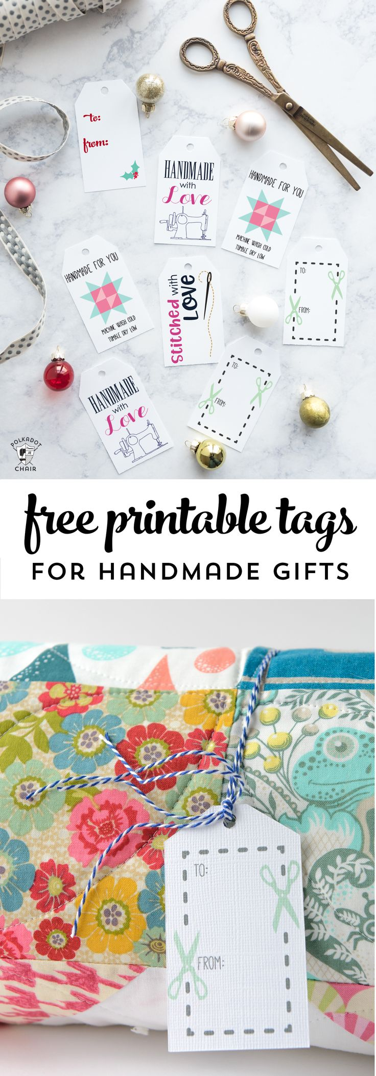 Free Printable Gift Tags for Handmade Gifts - gift tags for sewing gifts or knit...