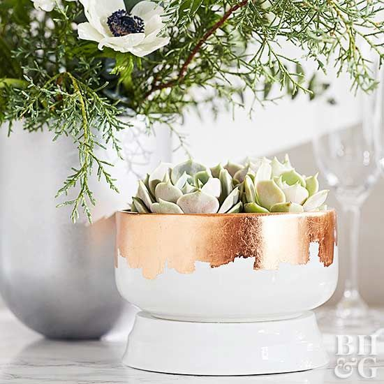 Accentuate a vintage bowl with delicate copper leaf to create one-of-a-kind deco...