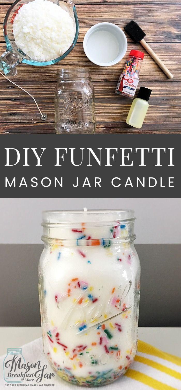 DIY Funfetti Soy Mason Jar Candles make fun centerpieces for birthday parties, e...