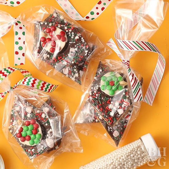 Doubling as a last-minute gift and a Christmas dessert, this holiday bark is mad...