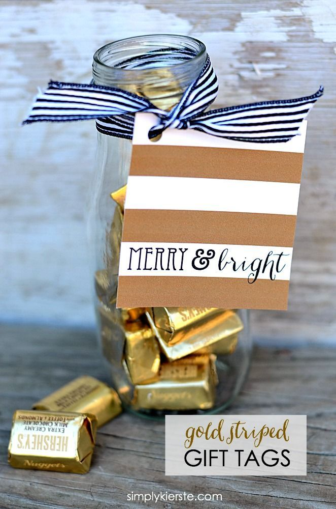 Darling Gold Striped Christmas Gift Tags--just print (for free), cut, and tie on...