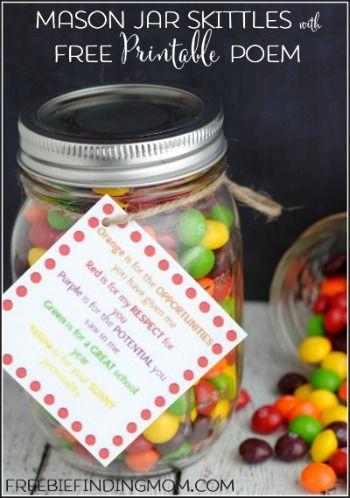 Mason Jar Skittles with Free Printable Poem - Great DIY gift for Teacher Appreci...