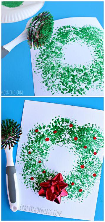 Dish Brush Wreath Craft - Easy Christmas craft for kids to make!   CraftyMorning...