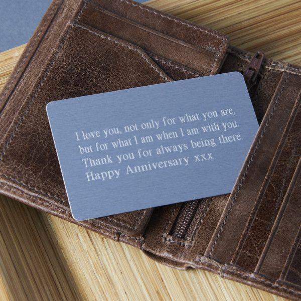 Personalised keepsake wallet insert