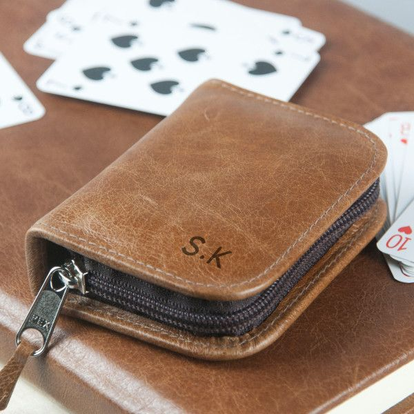 Personalised Leather Playing Card Case