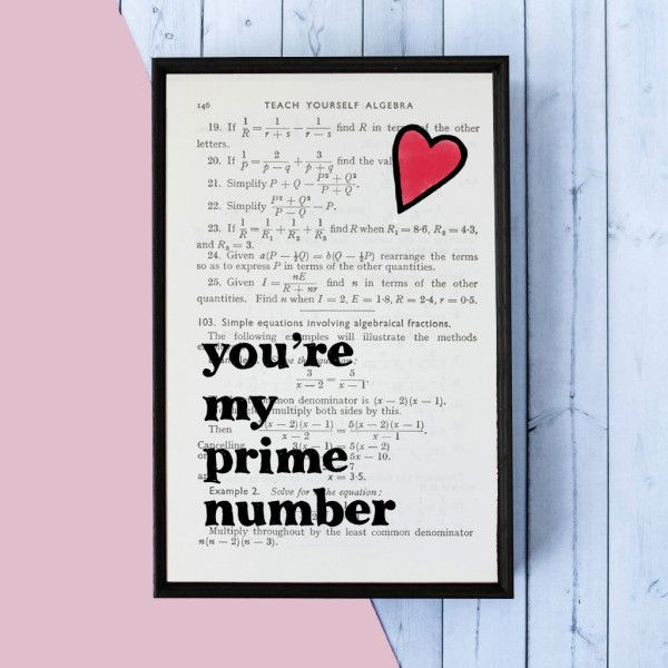 Gifts For Him Ideas : Romantic Geek Gift Prime Number quote - book ...