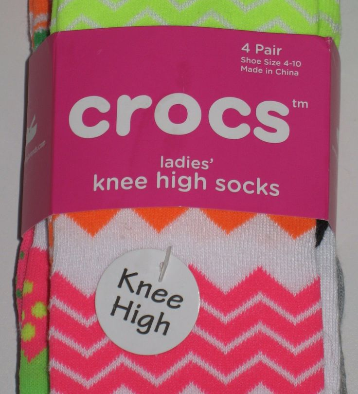 Crocs Knee High Socks 4 Assorted Pairs Set Lot Stretch Women's Size 4-10 NEW