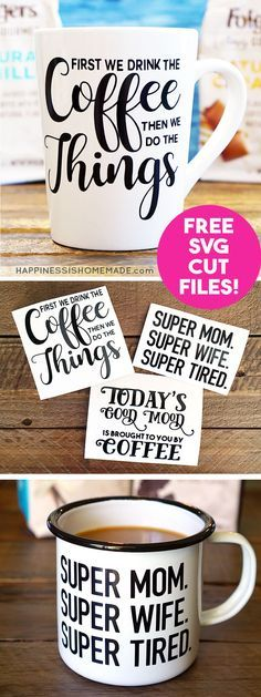 Make DIY Funny Coffee Mugs with these free SVG cut files for your Cricut or Silh...