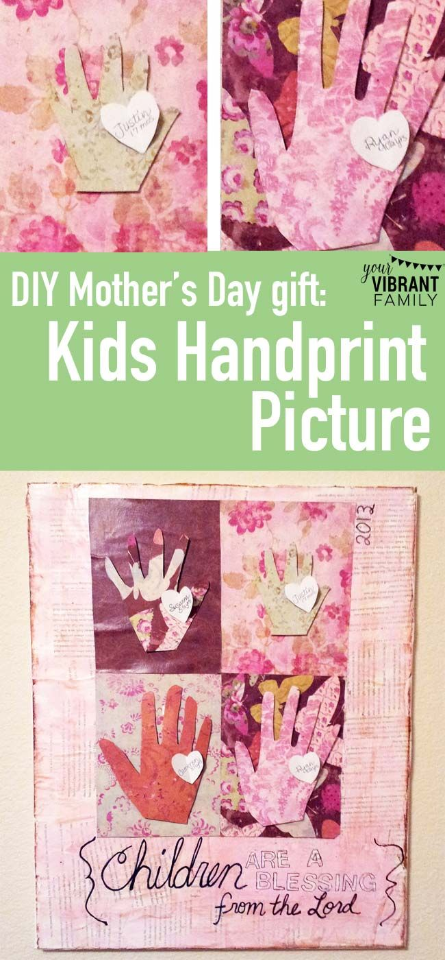 Need a quick, handmade Mothers Day gift?  Try this gorgeous Kids Handprint Canva...
