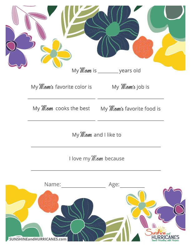 Mom Birthday Gifts This Printable Mothers Day Questionnaire Is A