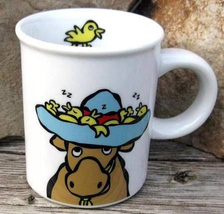 Vintage MARC TETRO cow, My Favorite Hat, themed coffee mug. Perfect for hat enth...