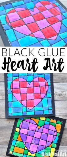 Black Glue Heart Art Project - Stained Glassed Heart Art. Beautiful art projects...