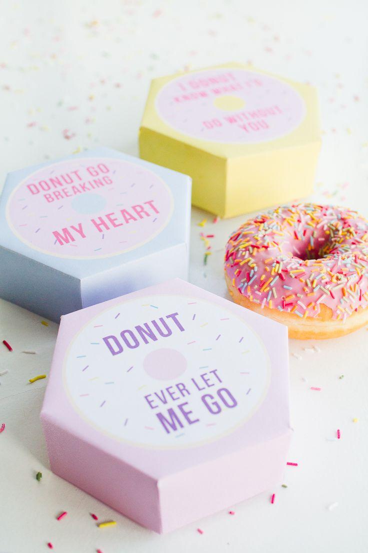 DIY donut boxes valentines day puns doughnuts case cute fun tutorial free printa...
