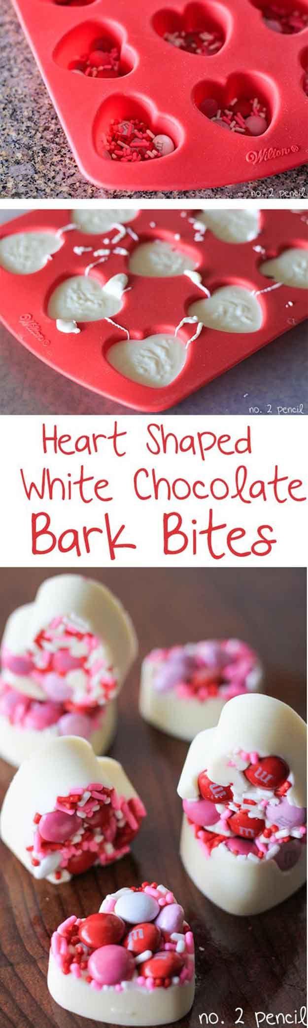 Heart Shape White Chocolate Bark Bites|25 Valentines Day Treats That Look Way…