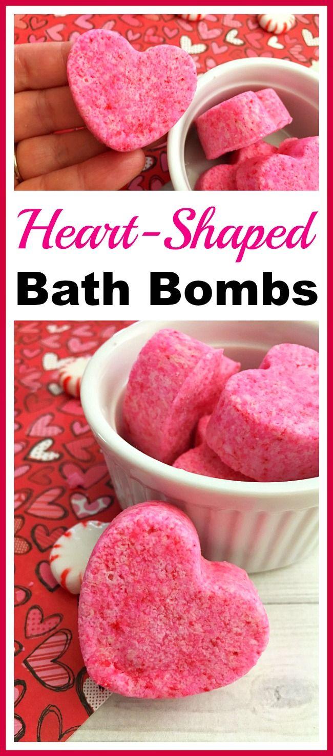 Heart-Shaped Bath Bombs- These cute DIY heart-shaped bath bombs would make lovel...