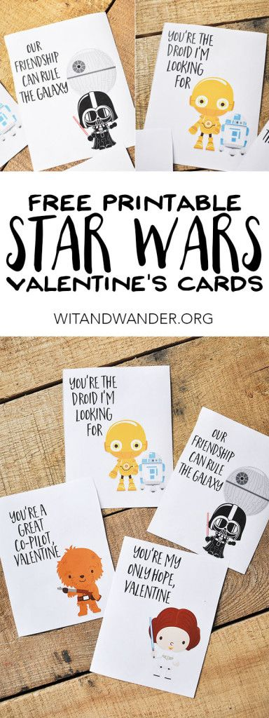 I love these Free Printable Star Wars Valentines Day Cards for Kids with Chewbac...