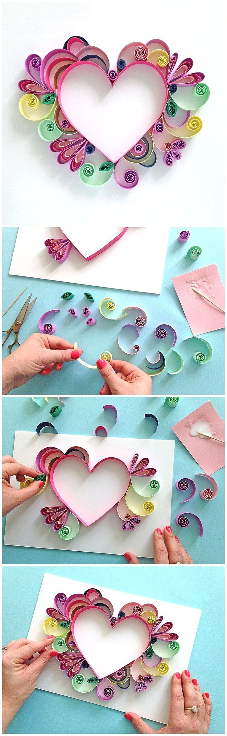 Learn How to Quill a darling Heart Shaped Mother's Day Paper Craft Gift Idea via...