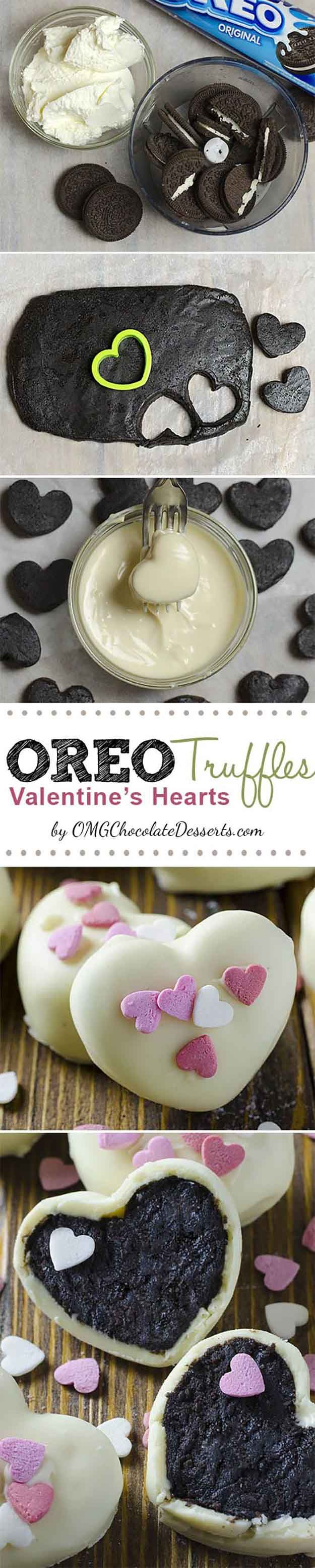 Oreo Truffle Valentines Hearts | 25 Valentines Day Treats That Look Way Too Good...