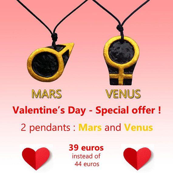 Saint Valentin lot de 2 pendentifs Mars et Vénus cadeau