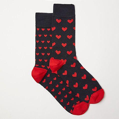 Buy John Lewis Heart Socks, Pack of 2, One Size, Black/Red Online at johnlewis.c...