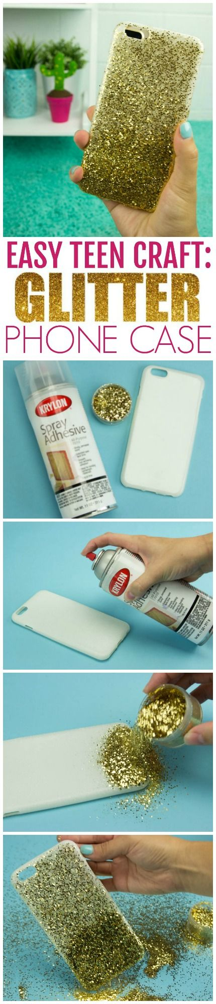 Today we made this adorable Super Easy Craft Idea For Teens-DIY Ombre Glitter Ph...