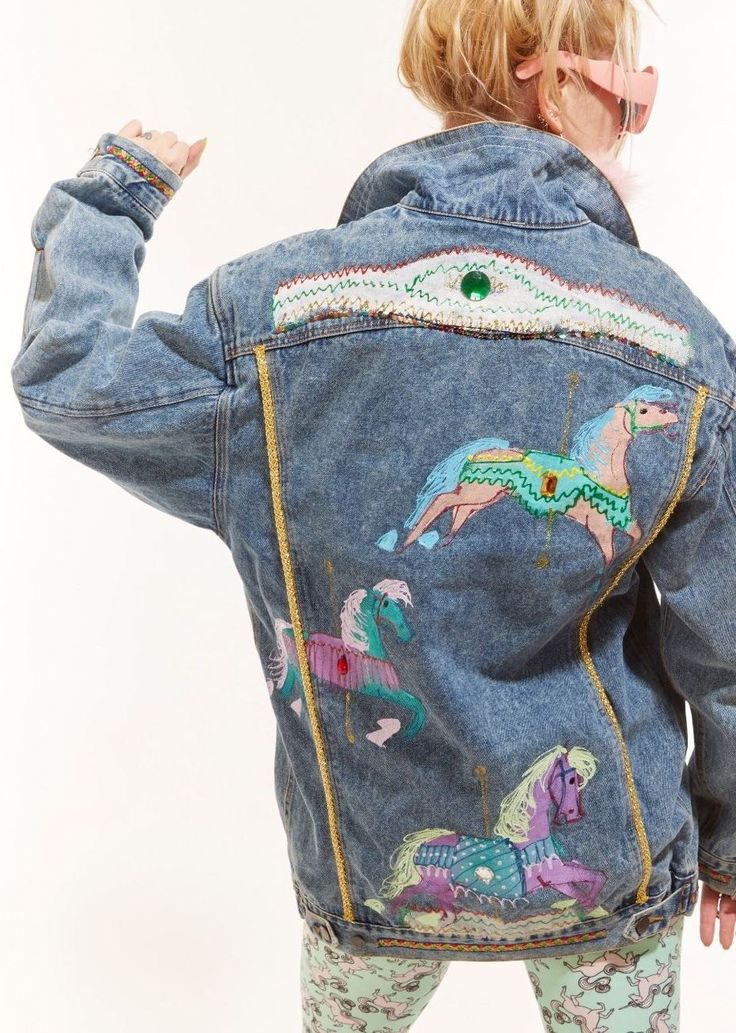 Mom Birthday Gifts Handpainted Carousel Horses Jean Jacket Found