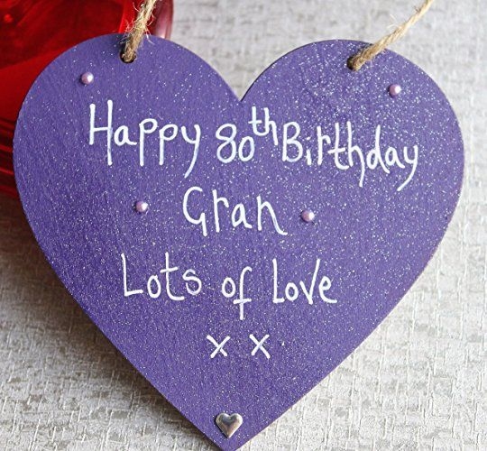 MadeAt94 Handmade Personalised Gift Heart Plaque Happy 80th Birthday Gran- Lots ...