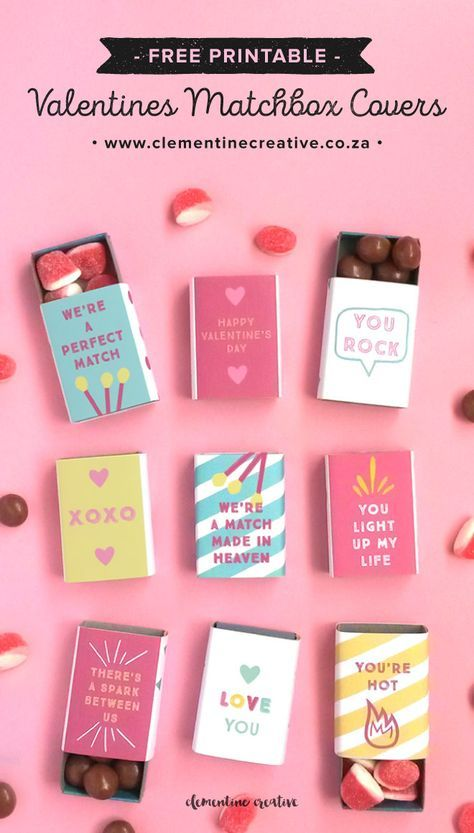 Valentines Day Gifts : Download these free printable matchbox ...