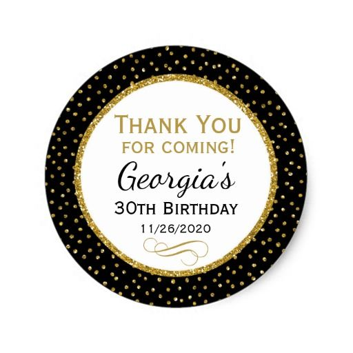 Birthday Gifts Ideas Birthday Black Gold Thank You Favor Tags