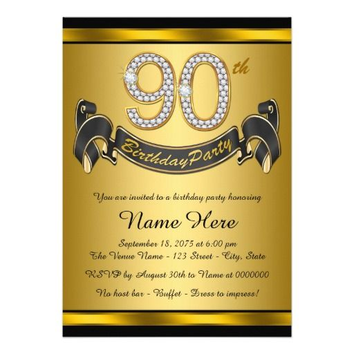 Birthday Gifts Ideas Gold 90th Party Card