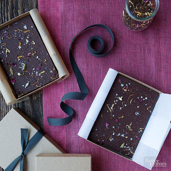 Combine Chocolate bark and tea leaves to make this easy recipe. Package this one...