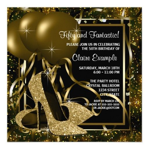 Black Gold High Heels Womans Birthday Party Card